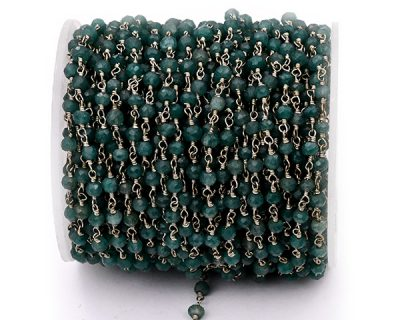 Aventurine Faceted Rondelle Gemstone Beaded  Chain Silver Plated