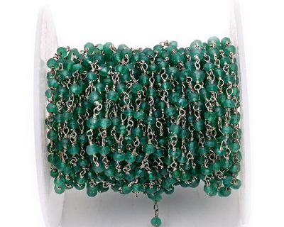 Green Onyx Faceted Rondelle Gemstone Beaded  Chain Silver Plated