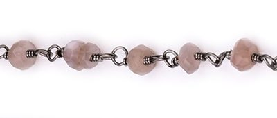 Chocolate Moonstone Faceted Rondelle Gemstone Beaded  Chain Black Oxidized