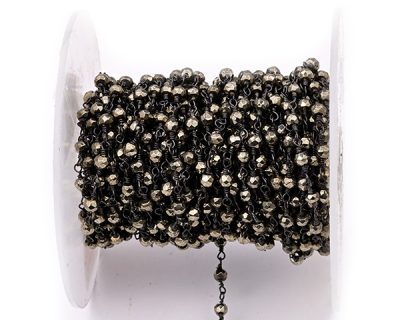 Pyrite Faceted Rondelle Gemstone Beaded  Chain Black Oxidized