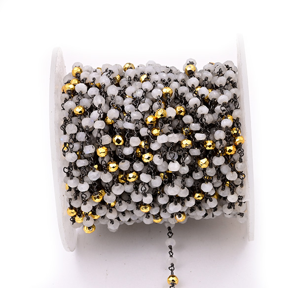 Moonstone with Golden Pyrite Faceted Rondelle Gemstone Beaded  Chain Black Oxidized