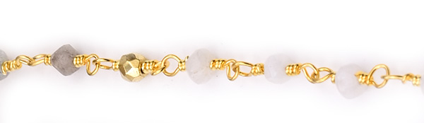Moonstone, Labradorite with Golden Pyrite Faceted Rondelle Gemstone Beaded  Chain Gold Plated