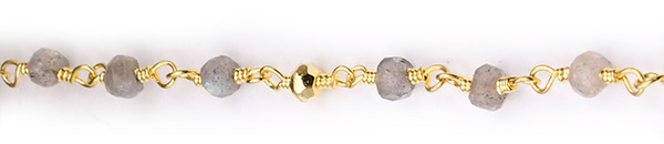 Labradorite and Golden Pyrite Faceted Rondelle Gemstone Beaded  Chain Gold Plated