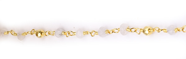 Moonstone with Golden Pyrite Faceted Rondelle Gemstone Beaded  Chain Gold Plated