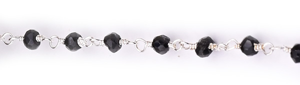 Black Spinal Faceted Rondelle Gemstone Beaded  Chain Silver Plated