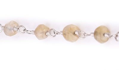 Citrine Faceted Rondelle Gemstone Beaded  Chain Silver Plated