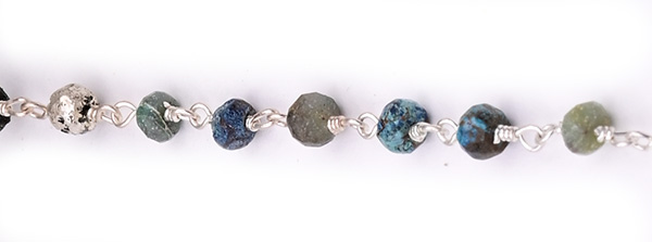Chrysocola Faceted Rondelle Gemstone Beaded  Chain Silver Plated