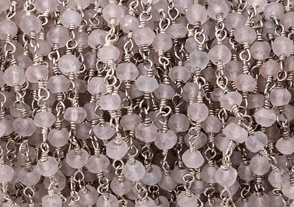 Rock Crystal Faceted Rondelle Gemstone Beaded  Chain Silver Plated
