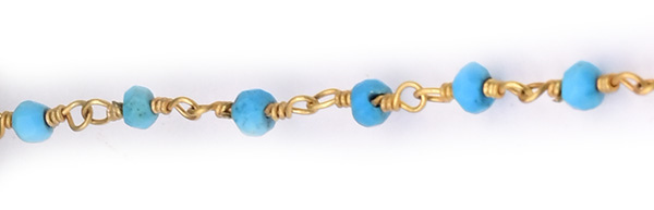 Howlite Faceted Rondelle Gemstone Beaded  Chain Gold Plated