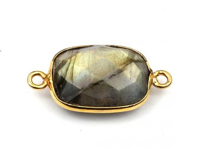 10X14mm Labradorite Rectangle Bezelled Connector Gold Plated
