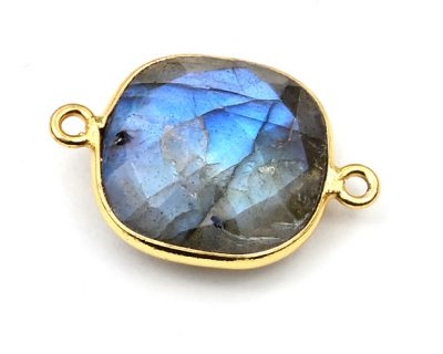 15mm Labradorite Square Bezelled Connector Gold Plated