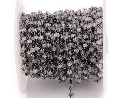 Rock Crystal Faceted Rondelle Gemstone Beaded  Chain Black Oxidized