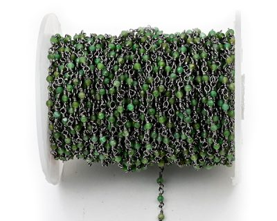 Chrysophrase Faceted Rondelle Gemstone Beaded  Chain Black Oxidized