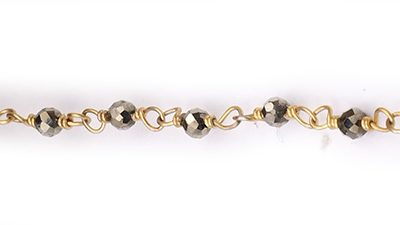 Pyrite Faceted Rondelle Gemstone Beaded  Chain Gold Plated