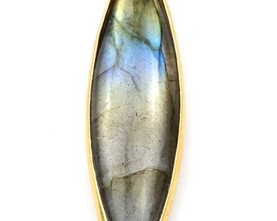 10X40mm Labradorite Marquise Bezelled Pendant Gold Plated