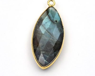 10X30mm Labradorite Marquise Bezelled Pendant Gold Plated