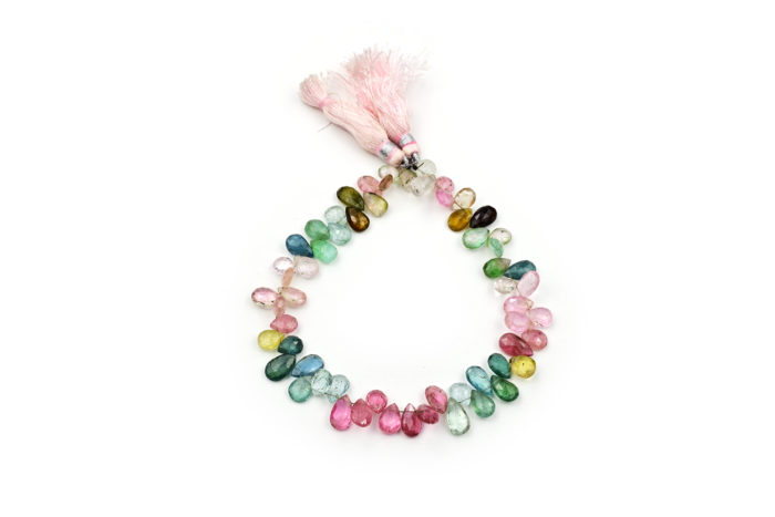 Multi Color Afghani Tourmaline Faceted Pear 6X9mm -7X10mm